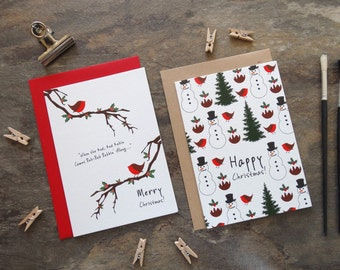 By the Shed - 4 x Christmas Card Selection Pack - Bobbin' Robin, Snowman, Christmas Tree, Pudding,  Melody -  Xmas, Seasons Greetings