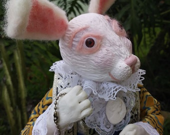 White Rabbit Alice in Wonderland handmade Art Doll