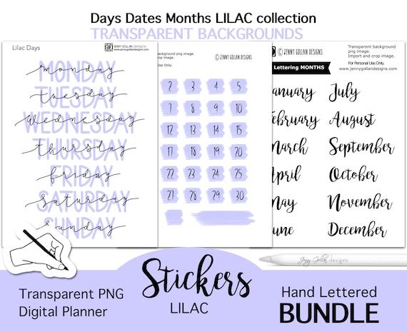 Digital Planner Stickers Lilac Bundle Days Dates Months PNG