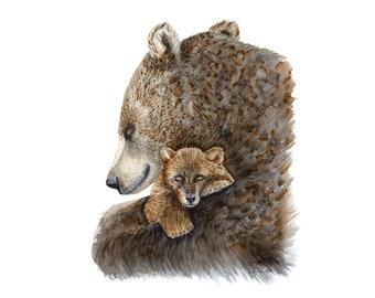 Woodland Animal Painting for Nursery - Bear Nursery Art - Mother and Baby - Woodland Nursery Print - Baby Room Decor - Bear Watercolor
