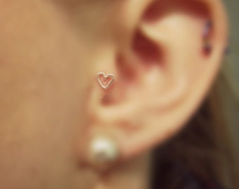 Minimalist Light Pink Heart Shaped Tragus Earring, 20 gauge