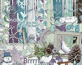 "Winter Digital Scrapbook Kit - ""Winter Wonders"" digiscrap kit with icicles, pine cones, snowman and sled in purple, blue, teal and white"