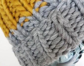 Chunky handknitted Mustard & Grey Hat.