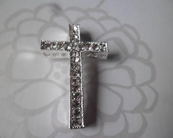 1 x Pearl spacer 36 x 25 mm silver white rhinestone cross