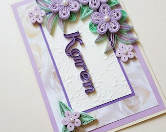 Personalised name card quilling card with name girl personalised birthday card happy birthday card girlfriend birthday card mum birthday card bookmarktalkfo Images