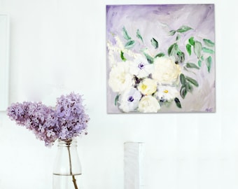"Floral Oil Painting Art Original // ""Just Imagine"" 12 x 12"" Canvas"