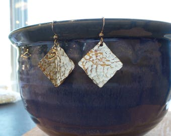Sterling Silver Hand Hammered Diamond Earrings // sterling drop earrings// silver earrings// hammered silver