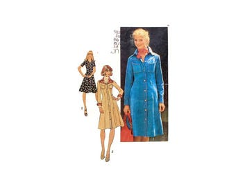 1970s Vintage Sewing Pattern - Simplicity 7170 - Shirt Dress