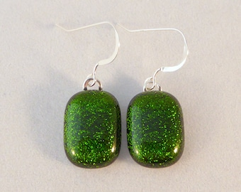 Green Dichroic Fused Glass Dangle Earrings, Fused Glass, Fused Glass Earrings, Glass Earrings, Dichroic Earrings, Dangle Earrings, Dichroic