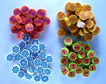 100 Polyclay Beads - Butterflies, Dragonflies and Flowers - Destash Sale