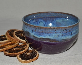 pottery bowl, cereal bowl, snack bowl, soup bowl, purple bowl, purple pottery, serving bowl, dinner bowl