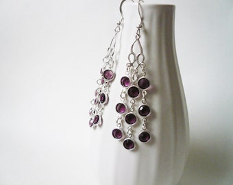Swarovski Deep Purple Chandelier Earrings, February Birthstone