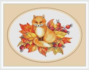 Autumn fox cross stitch pattern, cross stitch pattern fall leaves flower, modern cross stitch pattern modern PDF instant download