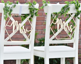 Mr and Mrs geometric chair signs- wooden chair signs -wedding decor