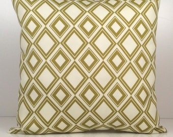 Olive green and off White Pillow, Throw Pillow Cover, Decorative Pillow Cover, Cushion Cover, Pillowcase, Accent Pillow, Cotton Blend Pillow