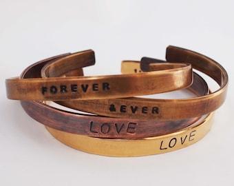 Custom Cuff, Bronze Bracelet, Copper Bracelet, Personalized Bracelet, Anniversary Jewelry