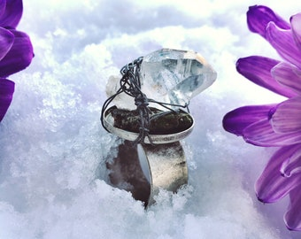 Energy Garden - Raw Clear Quartz Adjustable Ring with Wire Wrapping / Raw Crystal Ring