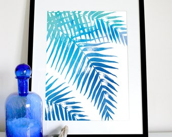 Palm leaves in blue (downwards), coastal decor, tropical print, tropical palm tree poster, black and white print, beach print, hampton style