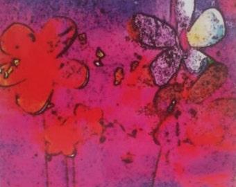 Hand embellished SILK print- Dancing Daisies