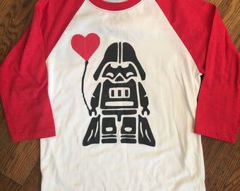 Darth Vader with heart balloon