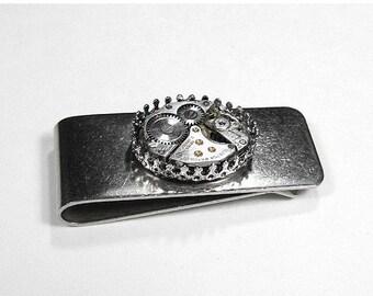 Steampunk Money Clip Jewelry Vintage Jeweled Watch Silver Mens MONEY CLIP Wedding Anniversary Boyfriend Fiancee Gift - Jewelry by edmdesigns