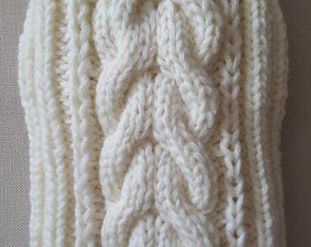 White Cable Knit Dog Sweater-Knitted Dog Sweater-Dog Coat-Dog Costume-Dog Clothes-Size S