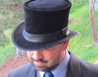 Black leather velvet & leather traditional / vintage / English style formal wear Top Hat perfect for weddings / races / black tie events