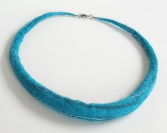Funky felted turquoise necklace - felted all around