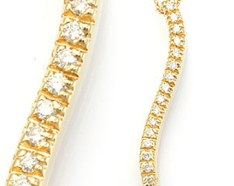 Curved Diamond Stick Pendant, 14K Yellow Gold Ladies Pendant, Ladies Fine Jewelry