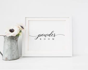 Powder Room Sign | Printable Wedding Sign | Wedding Bathroom Sign | Rustic Bathroom Decor | Calligraphy Restroom Decor | Ladies Room Sign