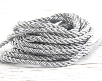 Metallic Silver, Twisted Braid Rayon Rope, Twisted Rayon Cord, Upholstery cord, 1 meter // CRD-024