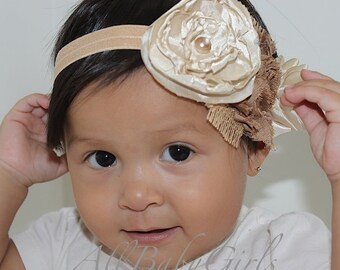 Baptism Headbands, Christening Headband, Newborn Headband, Flowers Headband, Beige Flower Headband, Beige Headband, Baby Headband