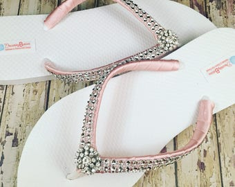 Katrina Bridal Flip Flops, Rhinestone Custom Flip Flops, Dancing Shoes, Bling Bridal Sandals, Wedding Flip Flops, Beach Wedding Bridal Shoes