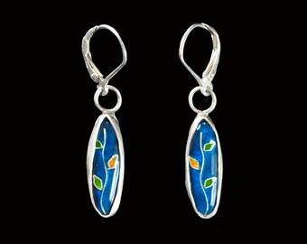 Cloisonne Enamel Vine Earrings