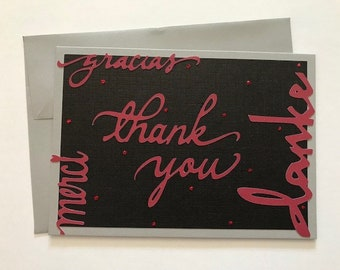 Multi-Language Handmade Thank You Card in Black, Grey and Red