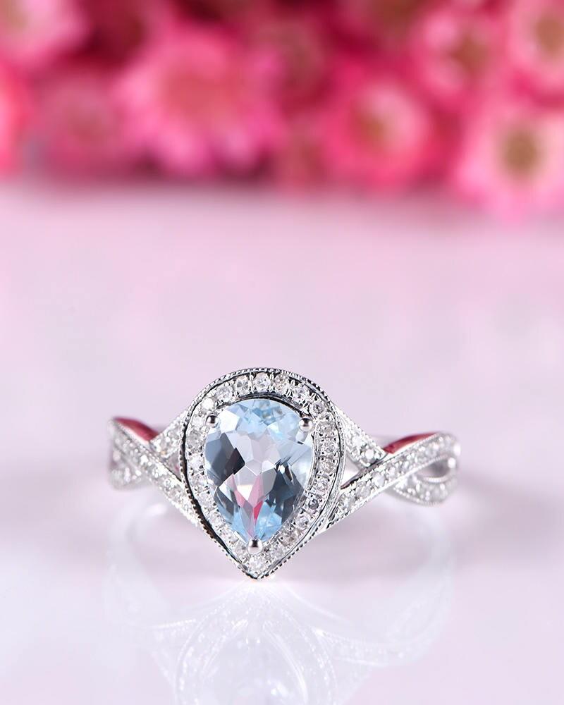 Natural aquamarine ring blue aquamarine engagement ring 5x7mm