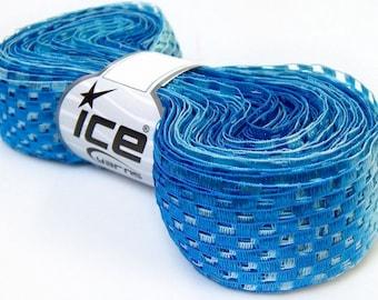 """Blue Shades Checkers Ribbon Yarn 32618 Ice Super Wide Checkerboard-Ladder Ribbon Yarn 1 3/8"""" x 38yds 100gram"""