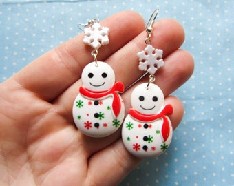 Kawaii/Cute Snowman Earrings, Christmas Earrings, Cute Earrings, Christmas, Kawaii, Cute, Snowmen/Snowflake/Winter
