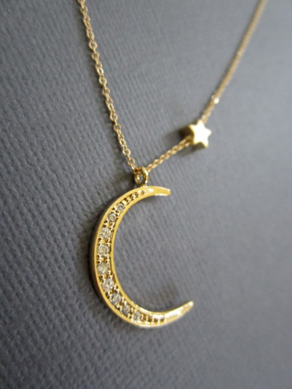 925 GoldRG Crescent Moon and Star necklace Star and Moon