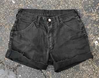 Wrangler black faded cutoff shorts vintage denim jeans cut offs mens womens 1990s 90s 1980s 80s cuff