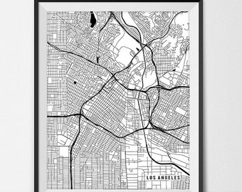 Los Angeles Map Print, Los Angeles Poster of California Map of Los Angeles Print Gift LA Map Los Angeles California Poster Wall Decor