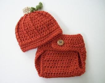 Baby Pumpkin Outfit, Halloween Costume, Crochet Baby Outfit, Halloween Outfit, Halloween Hat, Pumpkin Hat, Newborn Photo Prop, Baby Hat