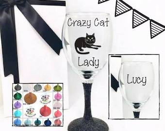Present for cat lover, crazy cat lady gift, gift for cat lover, cat lover gift, cat wine glass cat, funny wine lover gift, wine glass funny