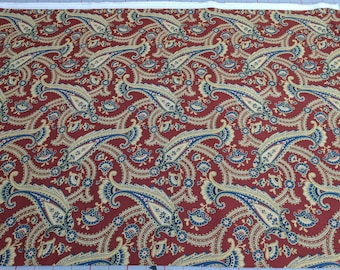 Red, Beige and Blue Paisley Cotton Fabric