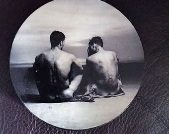Hot Male  Refrigerator Magnet, Gay Couple Art,  Gay Beach Magnet, Gay Male Magnet, Gay Pride, Gay Male Art, Fire Island Art, Fire Island