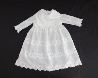 Antique Victorian Pure White Cotton Baby Dress Embroidered Lace Trim 24 Months 2T 3T ? 613544513
