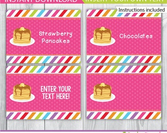 Pancake food labels / Pancakes and pajamas party table tents / pancake decor / pancakes table tent / pancake party printable / INSTANT