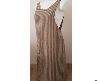 Japanese style striped linen apron