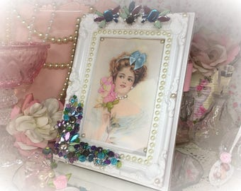 Shabby Chic Ornate Embellished Picture and Frame HARRISON FISHER GIRL Bejeweled Victorian Style Beads Jewel Pearl Rhinestone Costume Jewelry