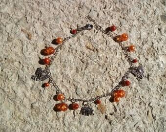orange and silver elephant bracelet